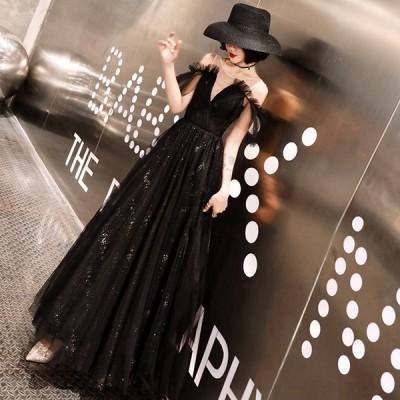 カラードレス 演奏会用ドレス 黒 ロングドレス パーティードレス  ウェディングドレス 発表会 結婚式 ピアノ 二次会 ドレス 前撮り 結婚式 花嫁 コンサート