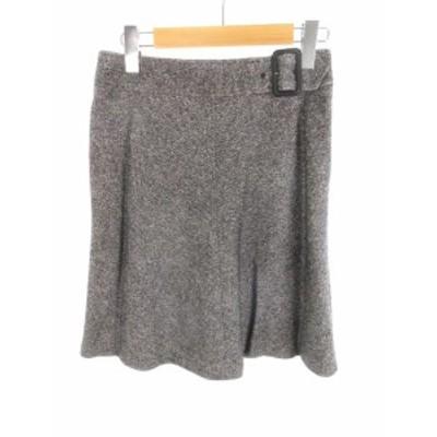 【中古】クイーンズコート QUEENS COURT ひざ丈 スカート 台形 ベルト グレー ウール シルク 2 美品  レディース