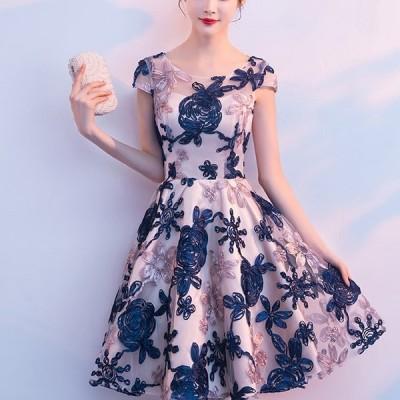 パーティドレス ワンピース きれいめ レディース40代 結婚式 韓国 30代 Aライン ミニ丈 ショート丈 半袖 花柄 フォーマル 上品  大きいサイズ 結婚式 二次会