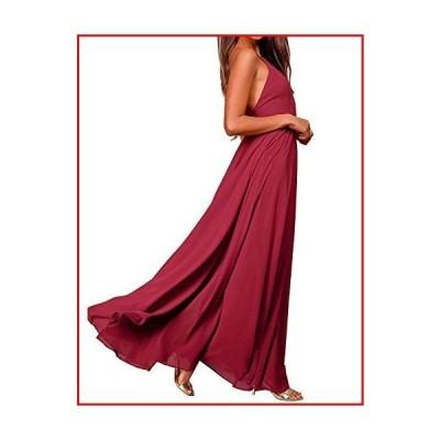 【新品】FANCYINN Women's Chiffon Backless Maxi Dress Floor Length Spaghetti Strap Halter Neck Wedding Prom Formal Dresses Wine Red S