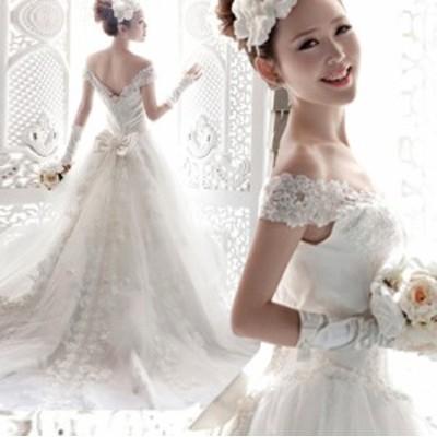 花嫁ドレス マキシドレス 体型カバー aライン 蝶結び付き 結婚式ワンピース オフショルダー レディース  マキシドレス