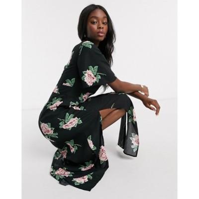 ミスセルフフリッジ レディース ワンピース トップス Miss Selfridge angel sleeve maxi dress in black floral print