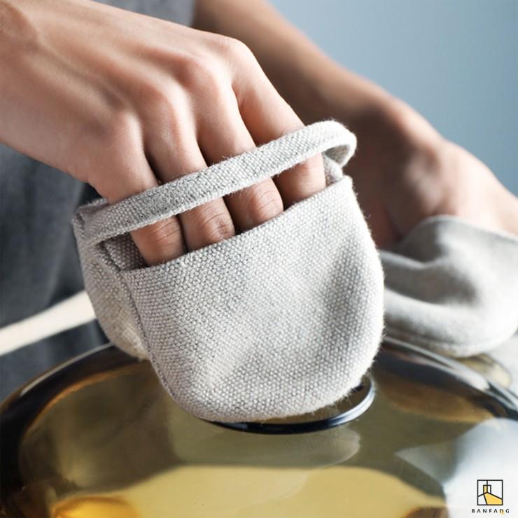 【現貨】半房 指尖棉麻隔熱手套 烘焙防燙小巧鍋耳套 微波爐烤箱廚房五指手套