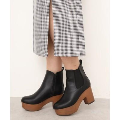 ブーツ サイドゴア厚底ショートブーツ