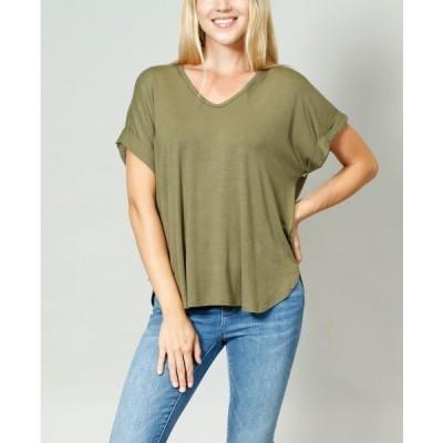 コイン1804 カットソー トップス レディース Women's Rolled Sleeve V-Neck T-shirt Army