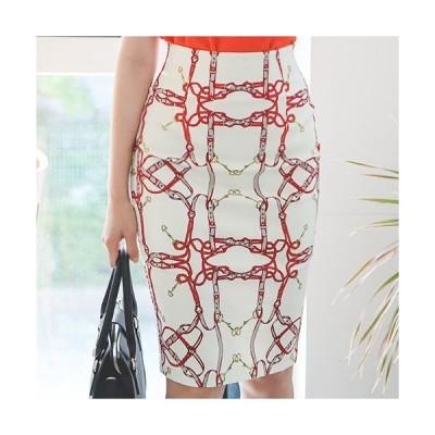 タイトスカート レディース 春夏 40代 50代 フォーマル ファッション 女性 上品 ハイウエスト レトロ柄 膝丈 きれいめ