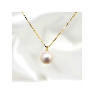 あこや真珠 一粒パールネックレス(40cmチェーン) ホワイト系 7.5-8.0mm BBB  K18 ゴールド プチペンダント[n3][52-7192]