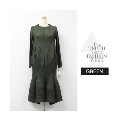 (RM STORE/アールエムストア)3色長袖裾切り替えプリーツエレガンスワンピースay19909/レディース グリーン