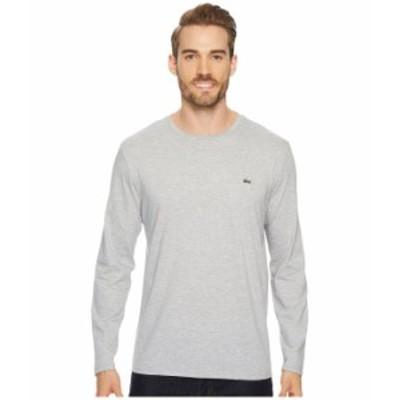ラコステ メンズ シャツ トップス Long Sleeve Pima Jersey Crew Neck T-Shirt Silver Chine