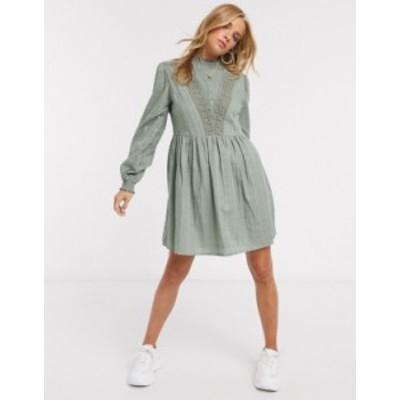 エイソス レディース ワンピース トップス ASOS DESIGN high neck mini smock dress with lace inserts in khaki Khaki