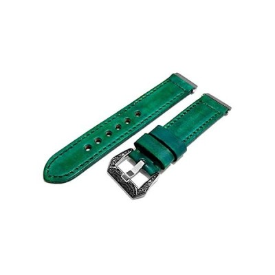 NICKSTON Green Brushed Genuine Leather Band Compatible with Fitbit Versa 3