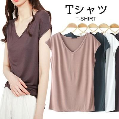 【ネコポス】Tシャツ レディース すっきり おしゃれ 可愛い キレイめ 半袖 無地 ゆったり トップス 夏新作