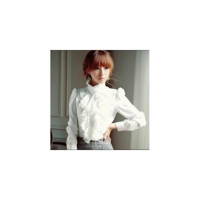ファッション レディース アパレル シャツ ブラウス シャツ シンプル ホワイト 長袖 フレア フェミニン オシャレ OL デザイン 2色 pl385 お取り寄せ商品 frst