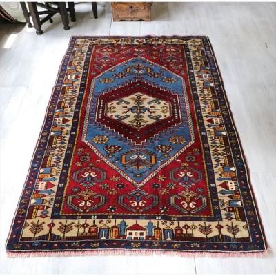 エリアラグ・トルコ手織り絨毯 ヤヒヤルじゅうたん セッヂャーデ 174x104cm 青い六角メダリオン 村の風景のボーダー