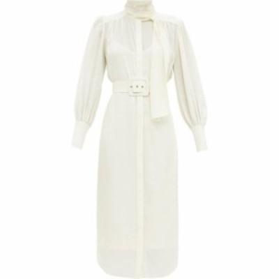 ジマーマン Zimmermann レディース ワンピース シャツワンピース ワンピース・ドレス Belted pussy-bow silk shirt dress Ivory