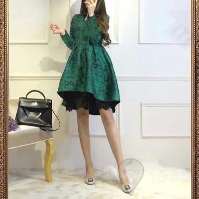 レデイースドレス グリーン パーティドレス 人気 オシャレ ドレス 結婚式 ワンピース フォーマルワンピース フォーマルドレス レース お呼ばれ