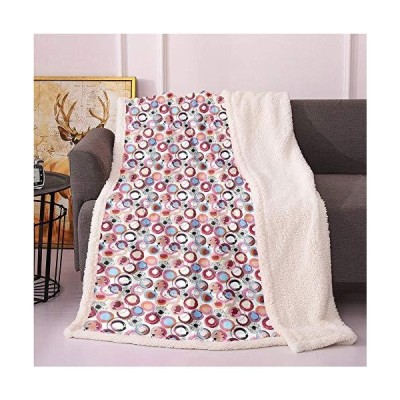 SeptSonne Abstract Fleece Blanket,Repetitive Print of Brush Strokes Circles Splashes Motifs on Plain Backdrop Flannel Bed Blankets,Microfibe