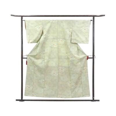 リサイクル着物 紬 正絹薄黄色地袷紬着物