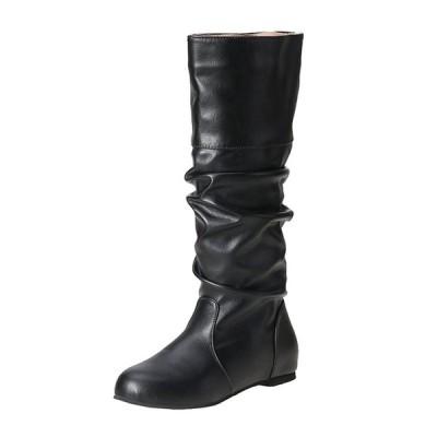 ロングブーツ 女性用ブーツ くしゅくしゅ インヒール レディース 防寒 大きいサイズ ウェッジ 防滑 レザー エンジニア 乗馬靴 美脚 歩きやすい