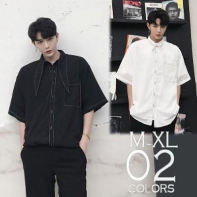 送料無料 デザインシャツ ショートスリーブ 半袖 ボタンダウン ゆったり メンズ メンズファッション 長袖 インナー 韓流 韓国ファッ