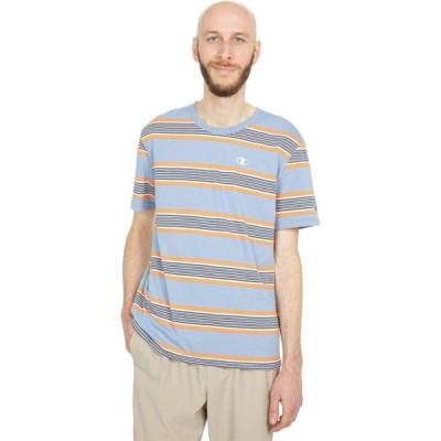 チャンピオン Champion LIFE メンズ Tシャツ トップス Yarn-Dye Stripe Short Sleeve T-Shirt Large Broad Strip/Wildflower Pale Blue
