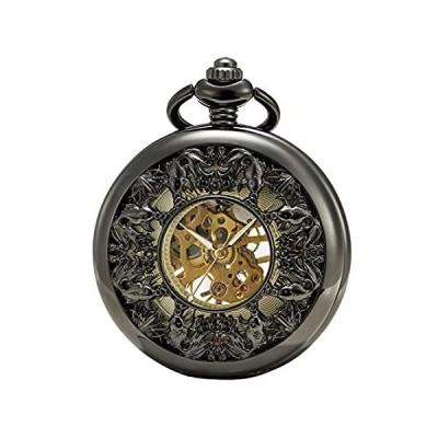 SEWOR グレースコイ スケルトン 懐中時計 ブラック 機械式 手巻き レザーギフトボックス付き (ブラック)