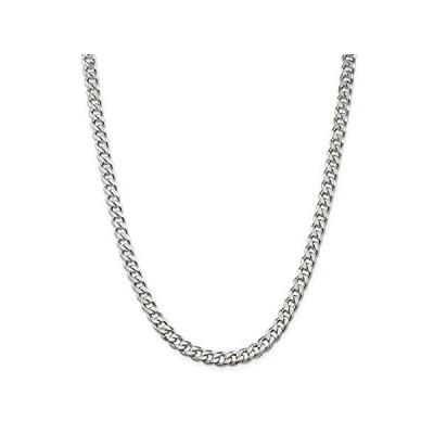 【イチオシ厳選】Solid 925 Sterling Silver 7mm Curb Cuban Chain Necklace - with Secure Lobst