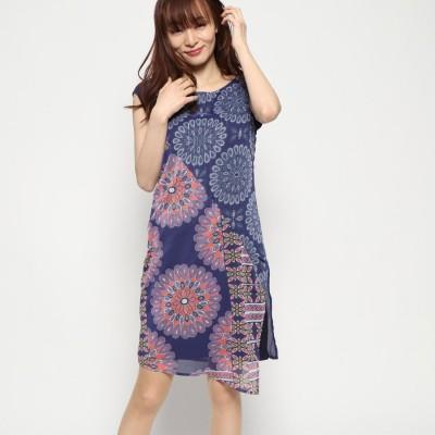デシグアル Desigual ドレスショート袖 (ブルー)