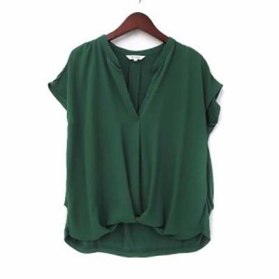 【中古】プラステ PLST カットソー S 緑 グリーン フレンチスリーブ 半袖 スキッパー 異素材 美品 レディース