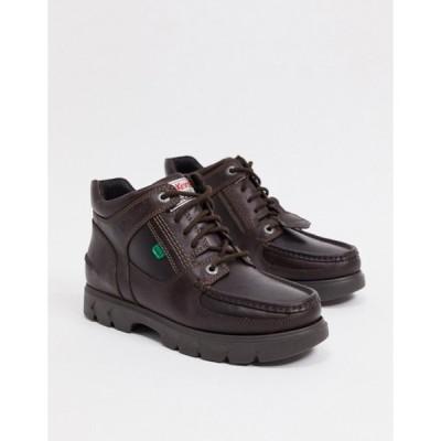 キッカーズ メンズ ブーツ・レインブーツ シューズ Kickers lennon mid leather lace-up boots in brown