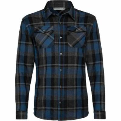 アイスブレーカー Icebreaker メンズ シャツ フランネルシャツ トップス Lodge LS Flannel Shirt Black/Prussian Blue