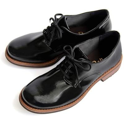 [やさしい靴工房 Belle&Sofa] 柔らかい エナメル マニッシュシューズ 紐靴 日本製 A3301 (23.5cm, ブラック)