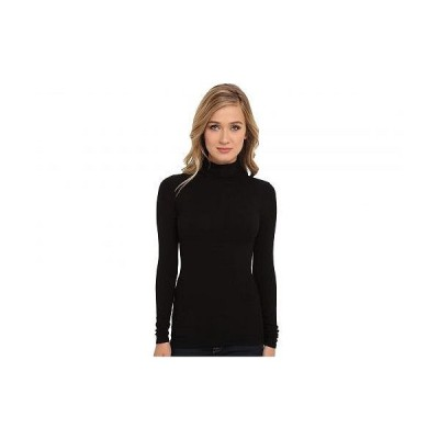 Three Dots スリードッツ レディース 女性用 ファッション Tシャツ Refined Rib L/S Turtleneck - Black