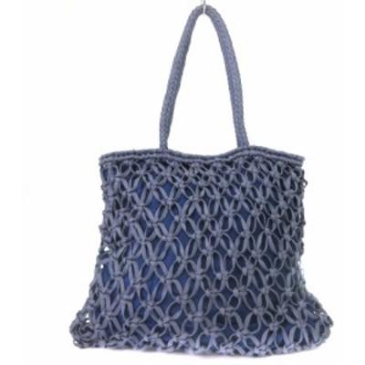 【中古】ヴァンサンプラディエ Vincent Pradier トートバッグ メッシュ 編み込み 紺 ネイビー 鞄 レディース