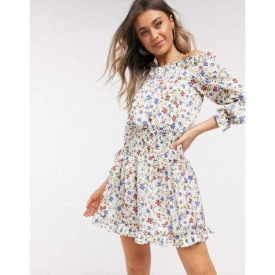 エイソス ASOS DESIGN レディース ワンピース ワンピース・ドレス shirred satin mini dress with pephem in floral print フローラル
