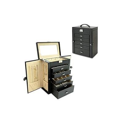 BUBM ジュエリーボックス 6段 ジュエリー収納 鏡付き ジュエリーケース ネックレスを掛けて収納 アクセサリー収納ケース レディース小物入れ 収納