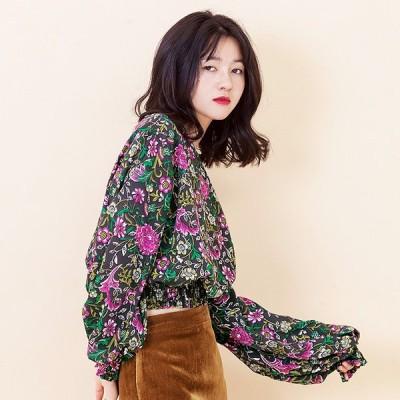ブラウス ジャケット レディース 長袖 シャツ ショートカットシャツ 花柄 薄手 可愛い 新作