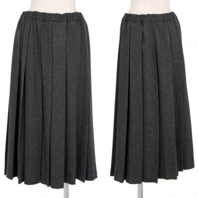 ブラックコムデギャルソンBLACK COMME des GARCONS ウールニットプリーツスカート グレーM 【レディース】