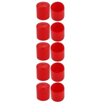 uxcell ビニールエンドキャップ レッド 21mm内径 PVC カバー ネジプロテクター フレキシブル 10個入り