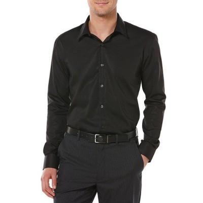 ペリーエリス メンズ シャツ トップス Non-Iron Solid Long-Sleeve Twill Shirt Black