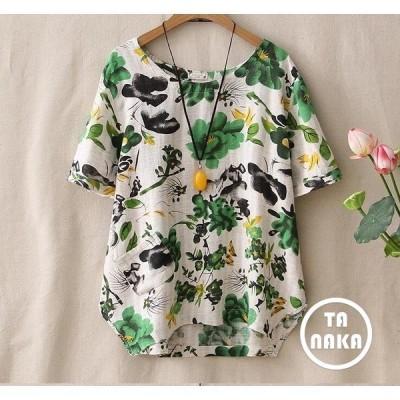 花柄刺繍日系森ガールシャツ夏新作丸首綿麻素材2色ゆったりレディース半袖Tシャツ通気性よい爽やか清純柔らかい