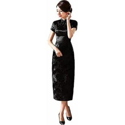 チャイナ服 ロング丈 ロングチャイナドレス 結婚式ゲスト衣装 ワンピースドレス フォーマルワンピース (M, 梅柄黒色)