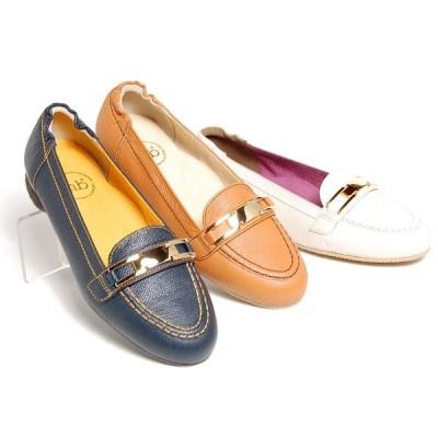 小さいサイズ パンプス 21.5cm 22cm センチ メタルモチーフモカパンプス 婦人靴 レディース靴 ヒール2cm 本革 白 茶 紺 ネイビー
