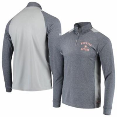 Stitches スティッチ スポーツ用品  Stitches Houston Astros Heathered Navy/Gray Raglan Sleeve Quarter-Zip Pullover Jacket