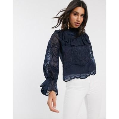 ワイエーエス レディース シャツ トップス Y.A.S lace blouse with ruffle detail in navy