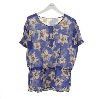 acote シルク混花柄シアーブラウス ブルー×ピンク サイズ:1 (和歌山店) 210519