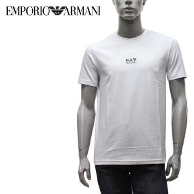 エンポリオアルマーニ EMPORIO ARMANI  EA7 スモールロゴプリント Tシャツ【ホワイト】 3KPT15 PJ03Z 1100/【2021SS】m-tops