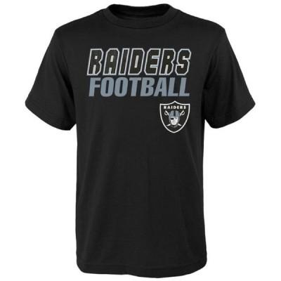 キッズ スポーツリーグ フットボール Youth Black Las Vegas Raiders Outline T-Shirt Tシャツ