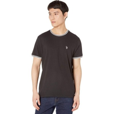 ユーエスポロアッスン U.S. POLO ASSN. メンズ Tシャツ トップス Crew Neck Ringer Tee Black