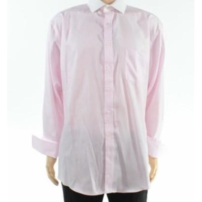 Pocket  ファッション ドレス Club Room Mens Dress Shirt Gray Size 17 Stripe Print Regular Fit Pocket
